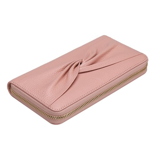 EcoCity New Bow Elegant Women Clutch Wallet In Genuine Leather (Pink)
