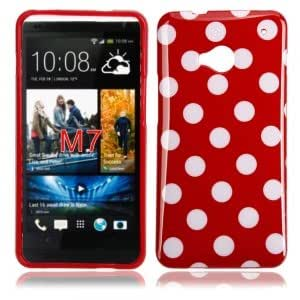 Dot TPU Case for HTC One M7 Red Bottom White Dot