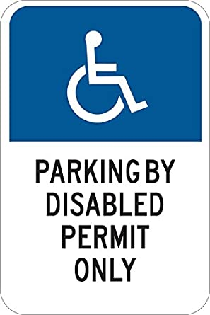 Brady 123870 Handicapped Parking Sign 18 Height White on Blue LegendVan Accessible 18 Height 12 Width 12 Width LegendVan Accessible