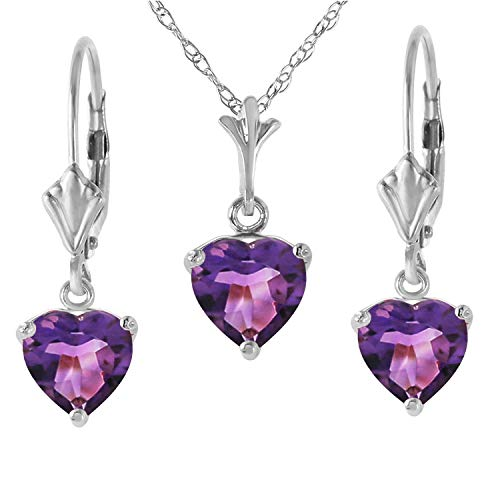 Heart Shaped Amethyst Earrings - 14K Solid White Gold Jewelry Set - Necklace and Earrings with Natural Heart-shaped Purple Amethysts