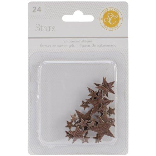 Studio Calico 24-Piece Essentials Star Chipboard Shapes, Wood