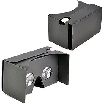 "KR-NET Google Cardboard V2.0 (Black) - VR 3D Virtual Reality Glasses Camera Headset DIY Kit for Large Smart Phone Galaxy Note 5 7 S6 S7 Edge LG G4 G5 iPhone 6/6S/7 Plus 5.7"""