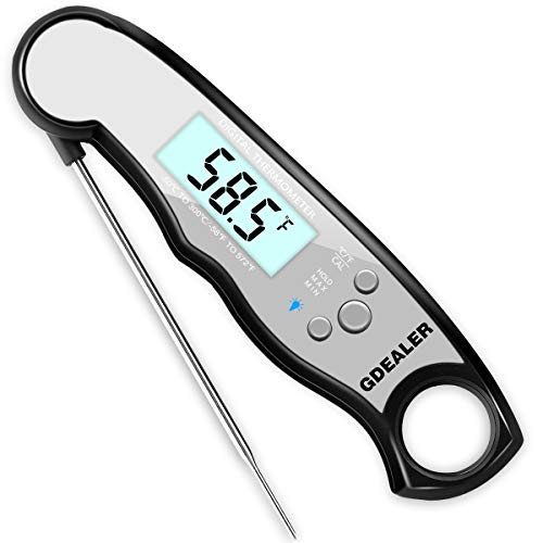 GDEALER Waterproof Digital Meat Thermometer Super Fast Instant Read Thermometer with Calibration and Backlit Function (Grey) ()