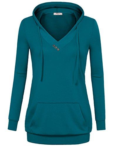 Timeson Women Long Sleeve V Neck Pullover Kangaroo Pocket Sweatshirt Hoodie (Medium, Deep Cyan)