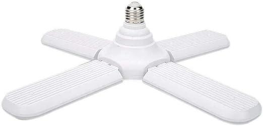 SODIAL - Bombilla LED E27 plegable con 4 aspas de ventilador de 60 W, luz LED superbrillante de 6500 K, luz de techo para interior o hogar 96-265 V SMD2835 E26: Amazon.es: Iluminación
