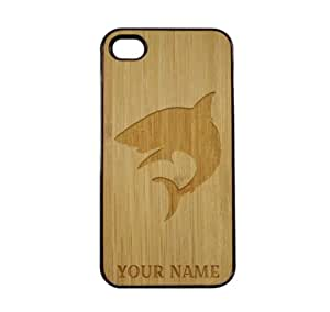 SudysAccessories Personalized Customized Custom White Shark On Wood Engraved Black iPhone 4 Case - For iPhone 4 4S 4G - Designer Real Bamboo Back Case Verizon AT&T Sprint(Send us an Amazon email after purchase with your choice of NAME)