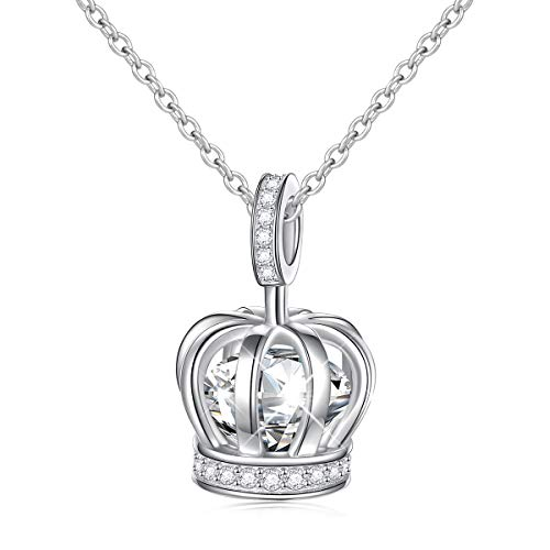 S925 Sterling Silver Crown Queen Pendant Necklace for Women Little Teen Girl Birthday Jewelry