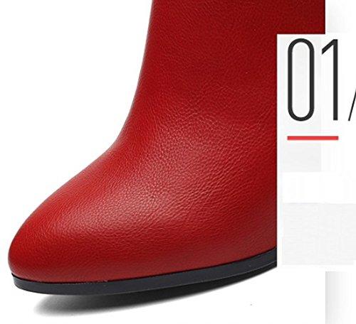 JAZS® Automne et hiver Angleterre Retro talons hauts mode Pendule perceuse Glissière latérale Bottes femme Confortable, résistant à l'usure, sexy, doux. ( Couleur : Noir , taille : 36 ) Rouge