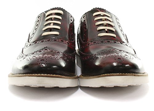 London Brogues Farnham Bordo / Blanc Chaussures En Cuir Pour Hommes, Taille 12
