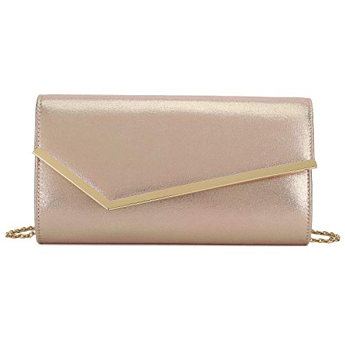 Charming Tailor Shimmering Metallic Clutch Purse Metal Accent Flap Evening Bag for Women (Rose Gold)