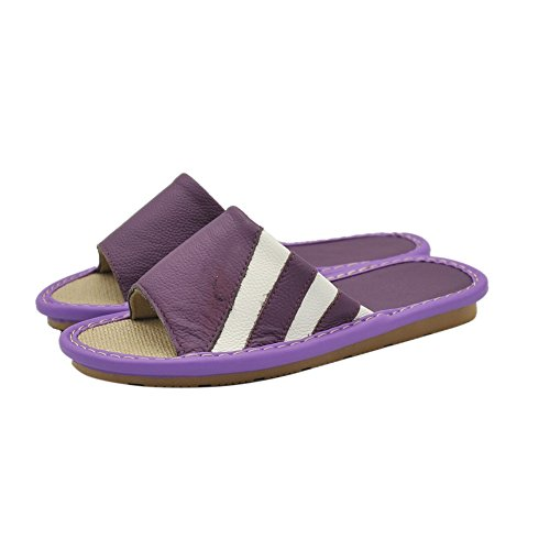 Summer Maylian Open Home Non Indoor Leather Slippers Toe Flats for Purple Women Skid Linen drSqngxr