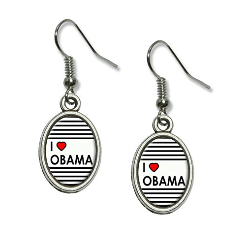 Obama Jewelry - Graphics and More I Love Heart Obama Novelty Dangling Drop Oval Charm Earrings