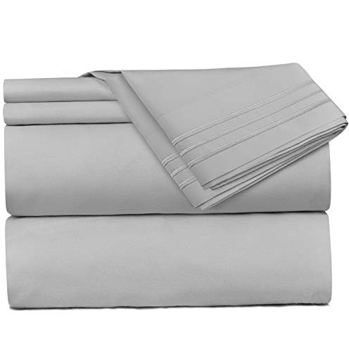 Mikash 4 Piece Sheet Set - 1800 Deep Pocket Bed Sheet Set - Hotel Luxury Double Brushed Microfiber Sheets - Deep Pocket Fitted Sheet, Flat Sheet, Pillow Cases, Full XL - Silver | Model SHTST - 112
