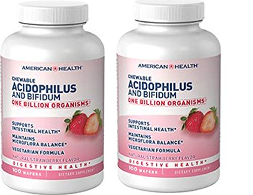 (Acidophilus Strawberry American Health Products 100 Chewable (Pack of 2))