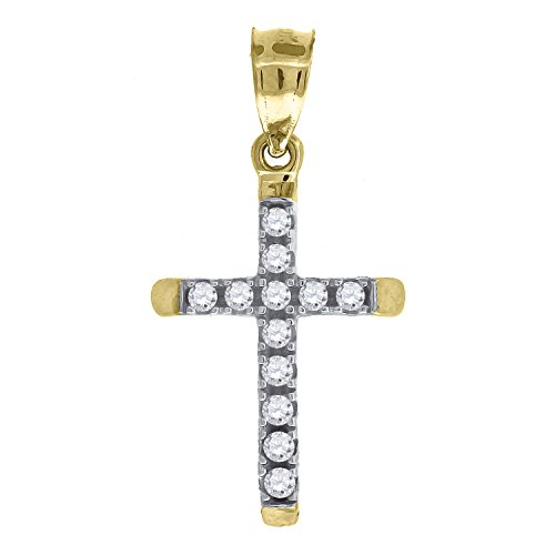 ld Yellow and White Two tone CZ Cubic Zirconia Unisex Cross (Ht:22mm x W:11mm) Religious Charm Pendant ()