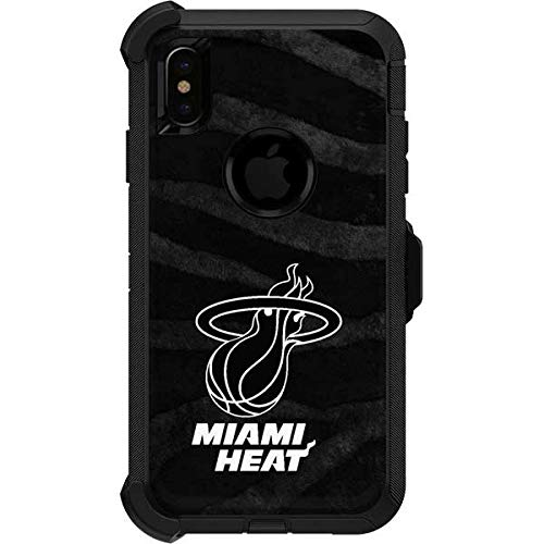 Skinit Miami Heat Black Animal Print OtterBox Defender iPhone Xs Max Skin for CASE - Officially Licensed NBA Skin for Popular Cases Decal - Ultra Thin, Lightweight Vinyl Decal Protection