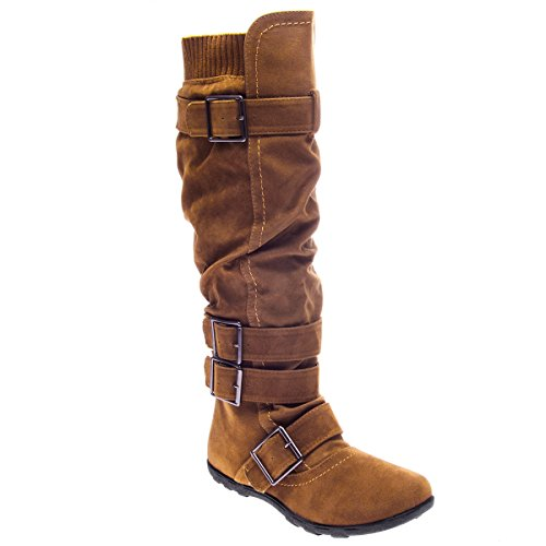 V-Luxury Womens 40-BD2523 Round Toe Knee High Slouchy Flat Boot, Tan Faux Suede, 8 B (M) - Suede Knee Brown Boots