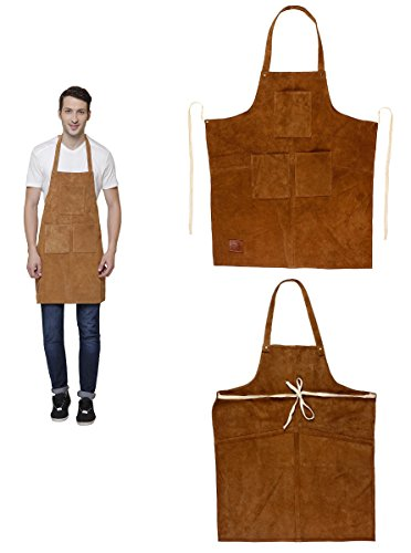 Rustic Town Genuine Leather Grill Work Apron with Tool Pockets ~ Adjustable up to XXL for Men & Women ~ Gift Ideas for Him Her (Tan) by Rustic Town (Image #5)