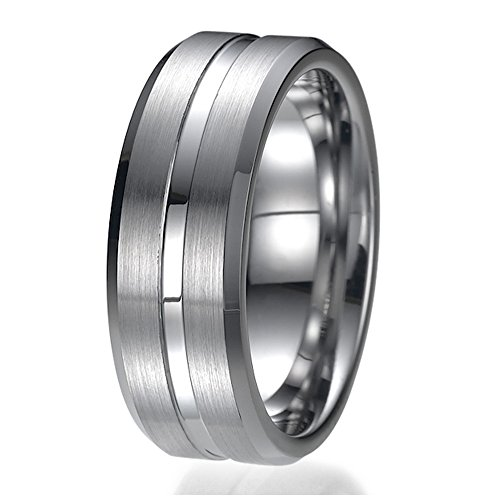 - NDSTORE 8mm Tungsten Ring Wedding Band Design Comfort Fit Brushed and Polished Striped Sizes 9 to 13