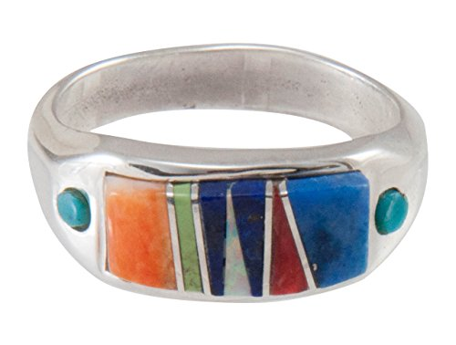 Inlay Indian Native American (Navajo Native American Turquoise Inlay Ring Size 7 1/2 by B Joe)