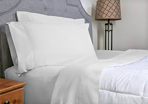 Price comparison product image Whisper Organics Bed Sheets, Organic 100% Cotton Sheet Set, 500 Thread Count, 3 Piece: Fitted Sheet, Flat Sheet, Pillowcase, Twin, White