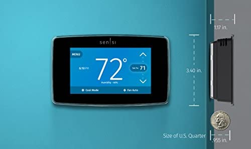 Emerson Sensi Touch Wi-Fi Smart Thermostat with Touchscreen Color Display, Works with Alexa, Energy Star Certified, C-wire Required, ST75 41 2BTs5 Bs0L