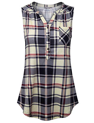 - Furnex Plaid Tunic Shirts for Women, Lady Sleeveless Comfy Plus Size Tunic Tank Tops with Flare Hem Casual Relaxed Simple Shirts for Summer(Black Beige,Medium)