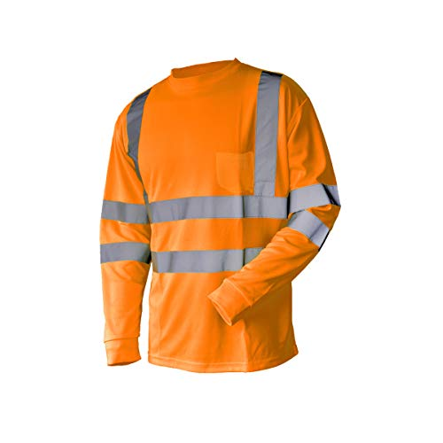 L&M Hi Vis T Shirt ANSI Class 3 Reflective Safety Lime Orange Short Long Sleeve HIGH Visibility (2XL, Orange_L)