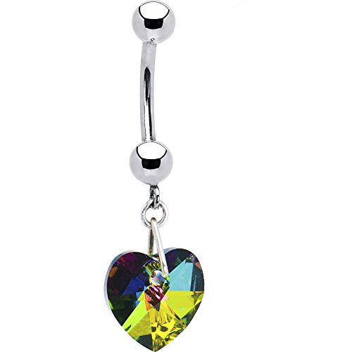 Solid 14k White Gold Vitrail Heart Belly Ring Created with Swarovski Crystals