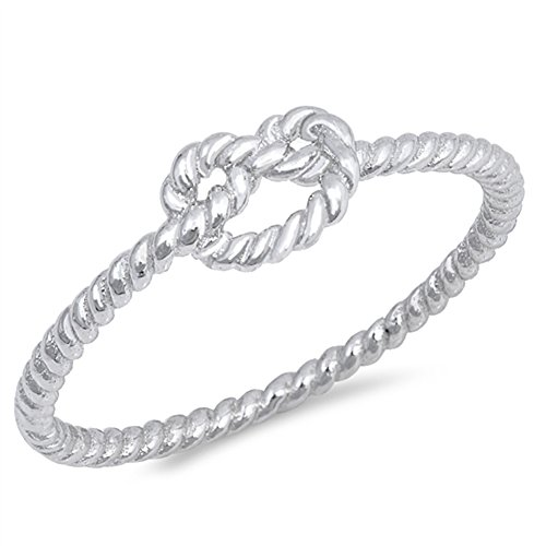 High Polish Rope Twist Infinity Love Knot .925 Sterling Silver Ring Size 7