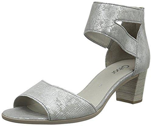 Gabor Damen offene Sandalen Echtleder silber grau metal brush Optik normale Paßform E
