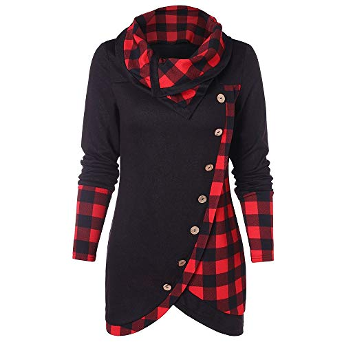 Women's Cowl Neck Plaid Hoodies Drawstring Pullover Button Tartan Hoodie Sweatshirt Tunic Tops for Leggings