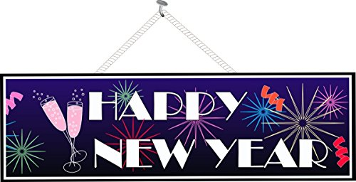 Happy New Year Holiday Sign with Fireworks, Champagne Glasses and Streamers - Fun Sign Factory Original Holiday Decor (Sign Happy Year Holidays)