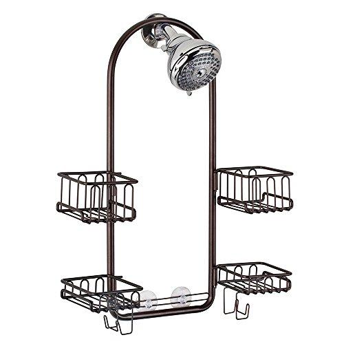 InterDesign Classico Handheld Shower Head Bathroom Caddy – Storage Shelves for Tall Shampoo and Conditioner Bottles, Bronze by InterDesign