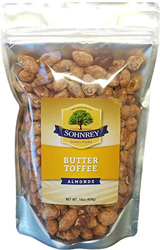 Butter Toffee Almonds Fresh Gourmet Sweet and Salty Crunch Resealable Bag from Sohnrey Family Foods (1 - Almonds Premium Gourmet Nuts