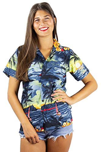 Funky Hawaiian Blouse, New Surf, gray, 5XL