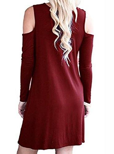 Coolred-femmes Solide Épaule Manches Longues Occasionnels Hors Pull Mini-robe Rouge Vin