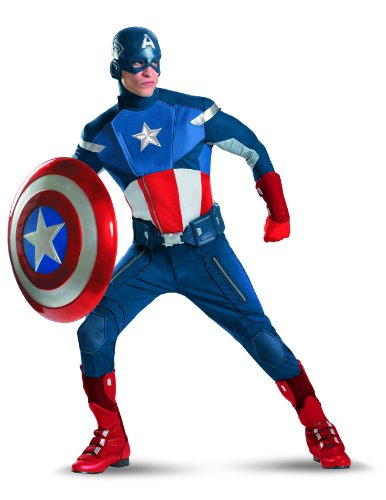 Disguise Captain America Avengers Theatrical Adult Costume, Red/White/Blue, X-Large]()