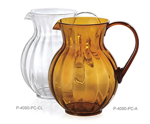 Tahiti Pitcher - 90 oz. Clear Plastic Pitcher, Dishwasher Safe, Break Resistant, for Indoor and Outdoor Entertaining, by GET P-4090-PC-CL-EC