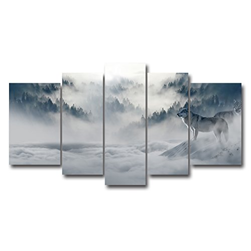 Used, 5 Panel Wall Art Painting Black And White Watchful for sale  Delivered anywhere in USA