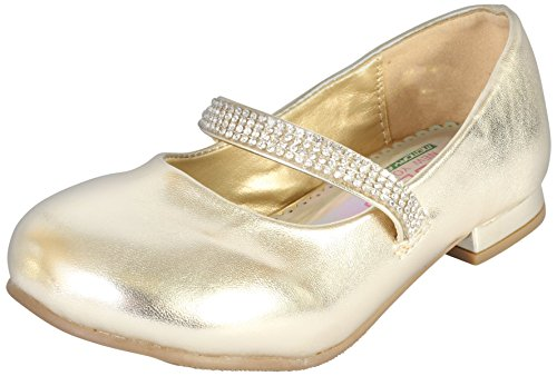 Angels New York Girls Mary Jane Style Shoe with Memory Foam Insole, Gold Metallic, 12 M US Little -