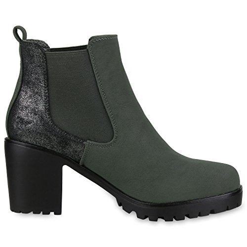 best-boots Botines para mujer Dunkelgrün Silber Nuovo