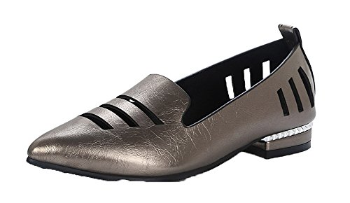 PU Shoes Women's WeiPoot On Metallic Low Closed Toe Heels Solid Pull Pumps vYvHwq
