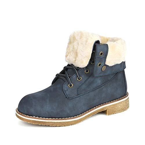 DREAM PAIRS Women's Montreal Dark Blue Faux Fur Ankle Bootie Size 7 B(M) -