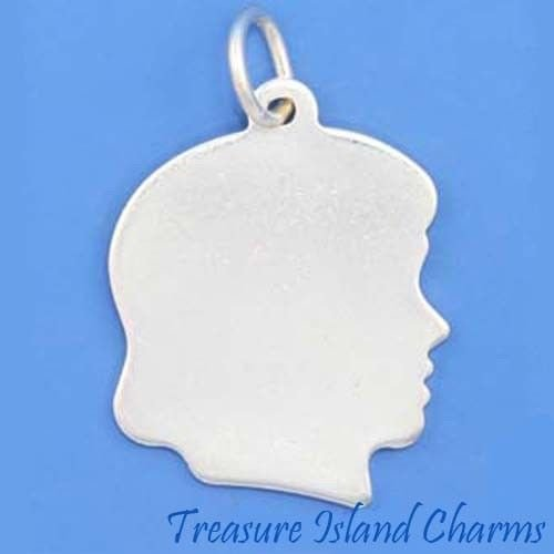 GIRL SILHOUETTE ENGRAVABLE .925 Solid Sterling Silver Charm Pendant MADE IN USA Jewelry Making Supply Pendant Bracelet DIY Crafting by Wholesale -