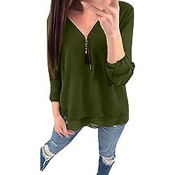 OrchidAmor Women Summer Casual Chiffon Zipper Long Sleeve Tank T-Shirt Blouse Tops GN/M Green