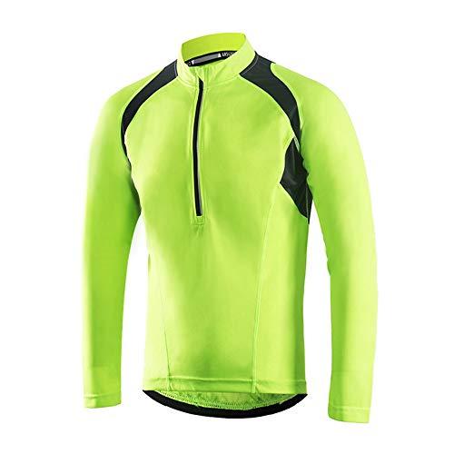 Dooy Men's Cycling Bike Jersey,Short/Long Sleeve MTB Shirts with 3 Rear Pockets-Breathable,Smooth Zipper Biking Shirt(BF) (Yellow(Long Sleeve, L-BF2) (Commuter Cycling Shirt)