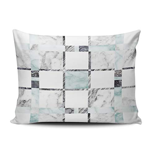 - Fanaing Bedroom Custom Decor Marble Tile Pillowcase Soft Zippered Blue Gray White Throw Pillow Cover Cushion Case Fashion Design One-Side Printed Boudoir 12x16 inches