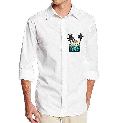 FUOALF Mens Beach Bum Sunshine Long Sleeve Button Down Collar Dress Shirt (Costume Rental Tampa)