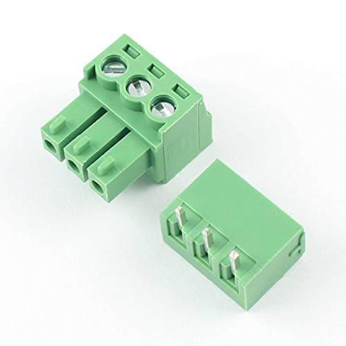 DBParts 10 Sets 3-Pin (3 Pole) 3.81mm Pitch Right Angle Screw Terminal Block Connector PCB Mount DIY 3 Pin Right Angle
